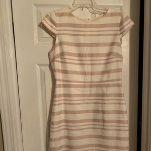 J Crew pale pink and cream knee length dress